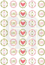 Love Heart Stickers 37mm Round Beautiful Floral Text Detail Wedding Valentines Gift Invitation Party Bag